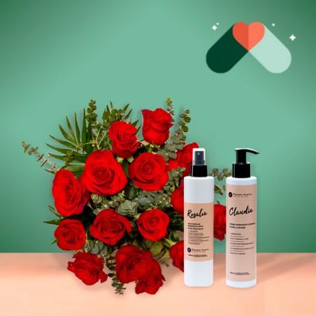 15 Rosas Rojas y Kit Cosmética
