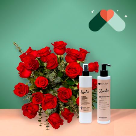 24 Rosas Rojas y Kit Cosmética