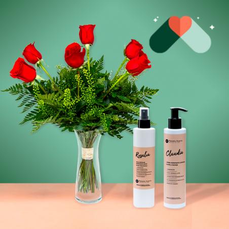 6 Rosas Rojas y Kit Cosmética