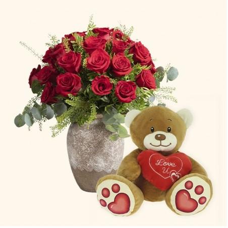Pack 24 rosas rojas + Osito...