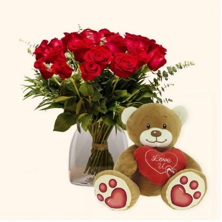Pack 18 rosas rojas + Osito...