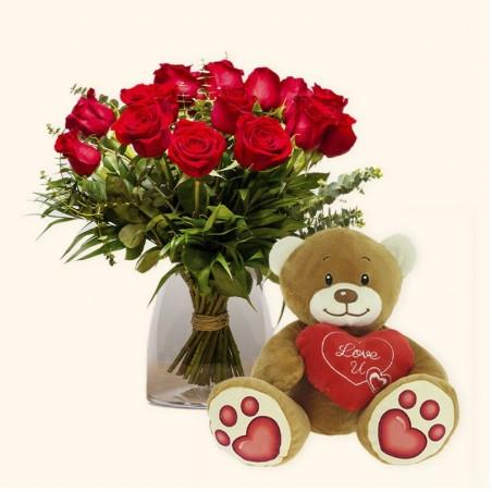 Pack 15 rosas rojas + Osito...