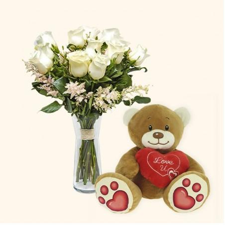 Pack 12 rosas blancas +...