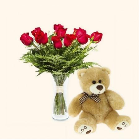 Pack 12 rosas rojas + Osito...