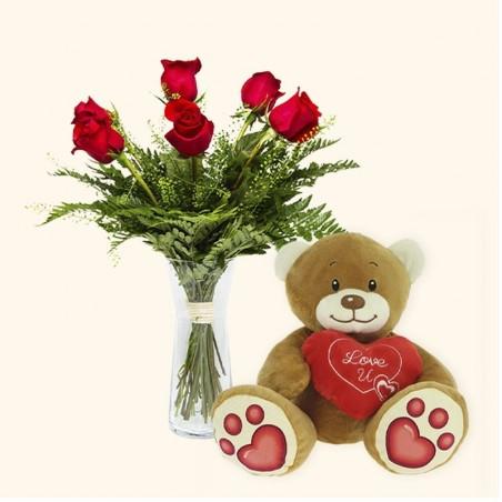 Pack 6 rosas rojas + Osito...
