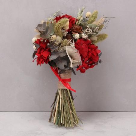 Ramo hortensia preservada rojo